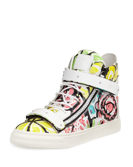 Giuseppe Zanotti Men's Pastel Floral-Print Leather High-Top Sneaker, Multi