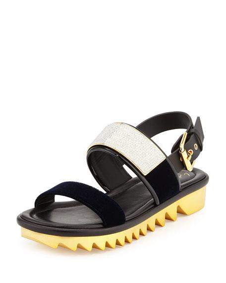 Giuseppe Zanotti Men's Velvet-Strap Sandal, Navy