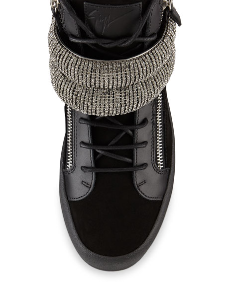 Men's Leather Mid-Top Sneakers with Jeweled Strap, Black