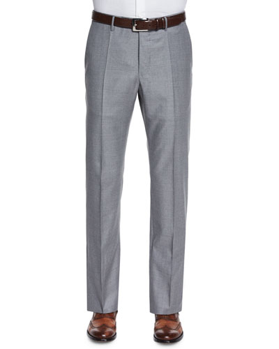 Super 150s Wool Trousers, Gray