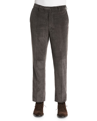 Wide-Wale Corduroy Trousers, Charcoal