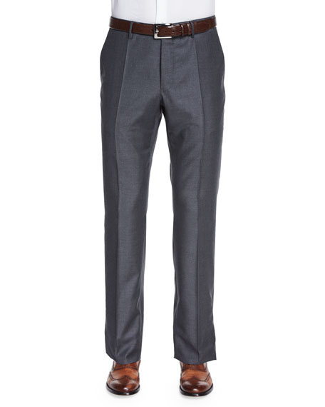 Super 150s Wool/Cashmere Trousers, Gray