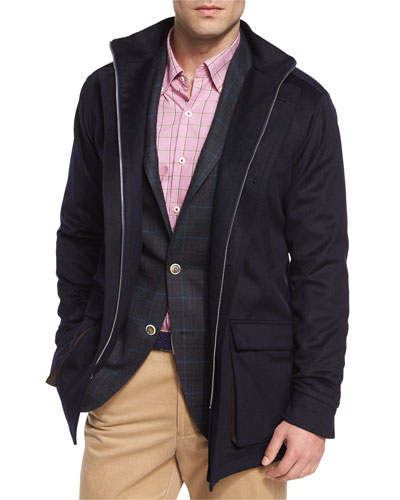 Newport Storm System Wool-Blend Coat, Navy