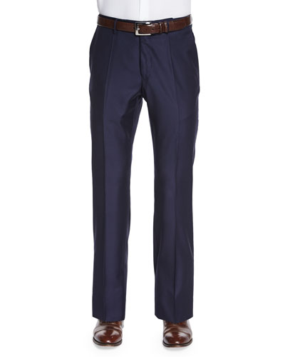 Super 150s Wool/Cashmere Trousers, Navy