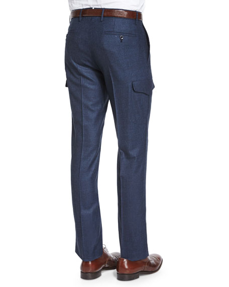 Donegal Flannel Cargo Trousers, Navy