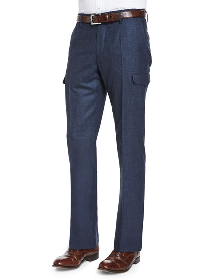 Incotex Donegal Flannel Cargo Trousers, Navy
