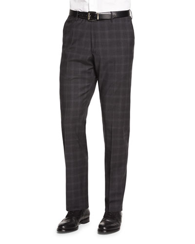 Super 150s Plaid Trousers, Gray