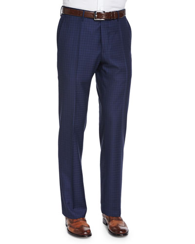 Super 150s Box-Check Trousers, Blue