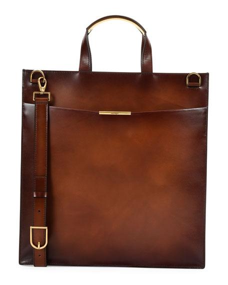 Salvatore Ferragamo Edition Leather Tall Briefcase, Brown