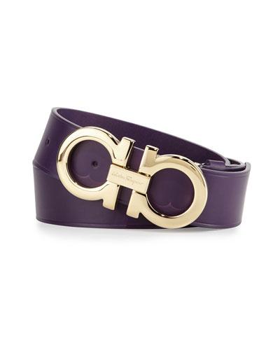 Large-Gancini Buckle Belt, Purple