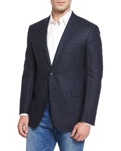 Graph-Check Flannel Sport Jacket, Navy
