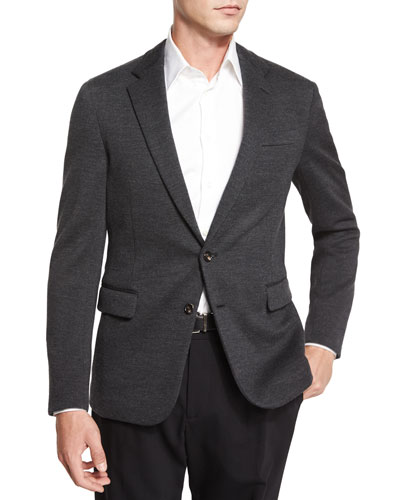 Daniel Two-Button Sweater Jacket, Charcoal
