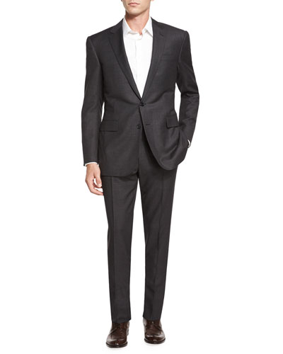 Anthony Birdseye Two-Piece Wool Suit, Charcoal