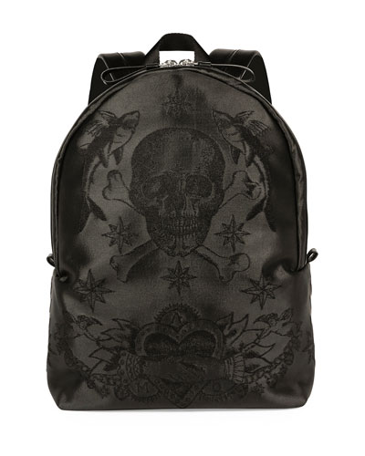 Sailor Skull-Printed Backpack, Black