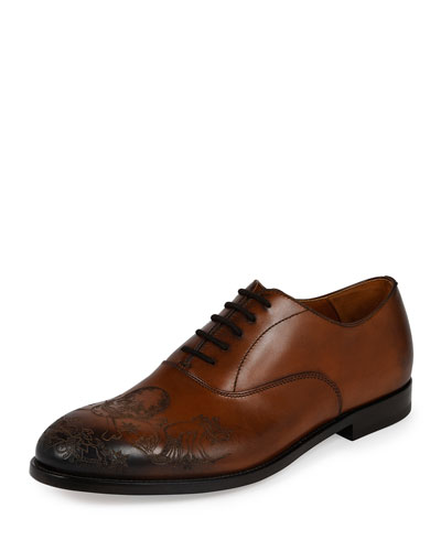 Embossed-Skull Leather Derby, Brown