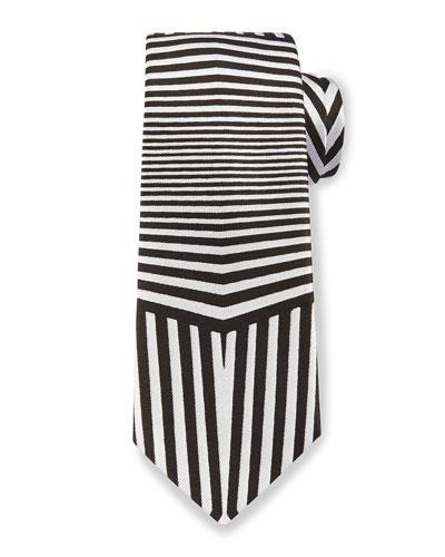 Dazzle Multi-Striped Silk Tie, Black/White