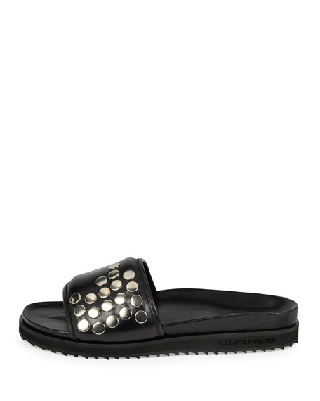 Men's Studded Leather Slide-On Sandals, Black