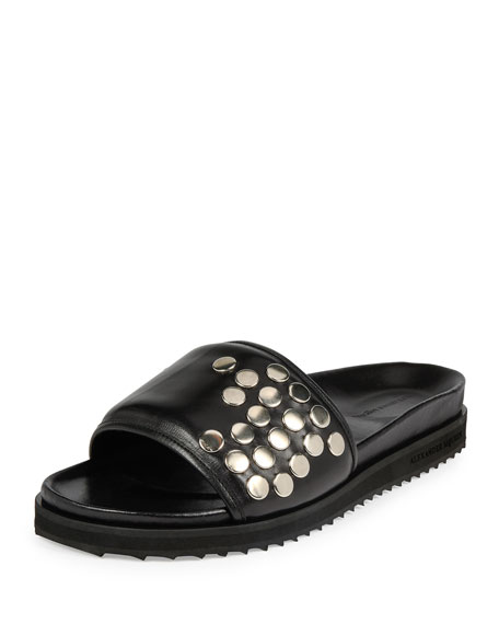 Alexander McQueen Studded Leather Slide-On Sandal, Black