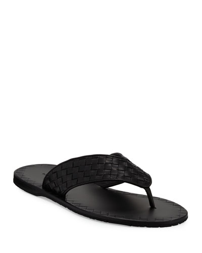 Woven Leather Flip-Flop Sandal  Black