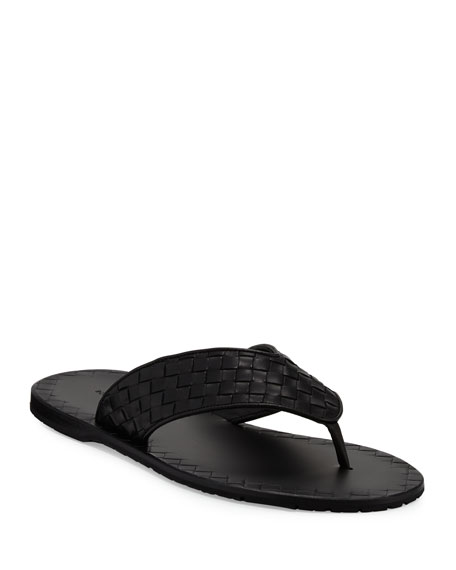Bottega Veneta Woven Leather Flip-Flop Sandal, Black