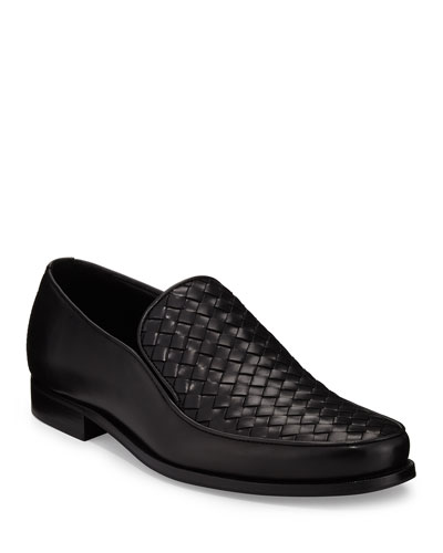 Woven Leather Loafer, Black