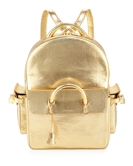 Buscemi PHD Shiny Leather Backpack, Gold