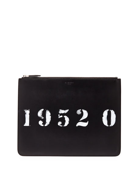 Givenchy Codification Leather Pouch, Black