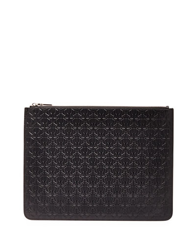 Trident Star-Embossed Pouch, Black