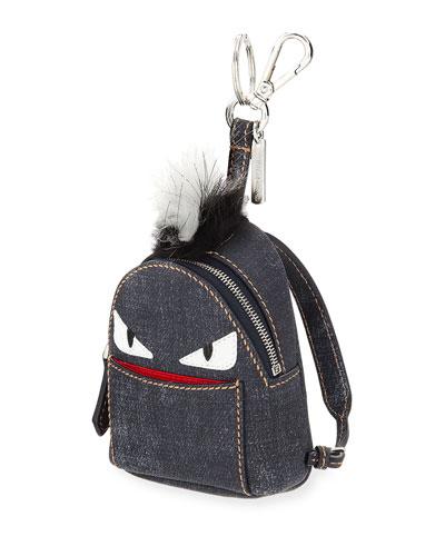 Monster Denim Backpack Charm W/Fur, Blue