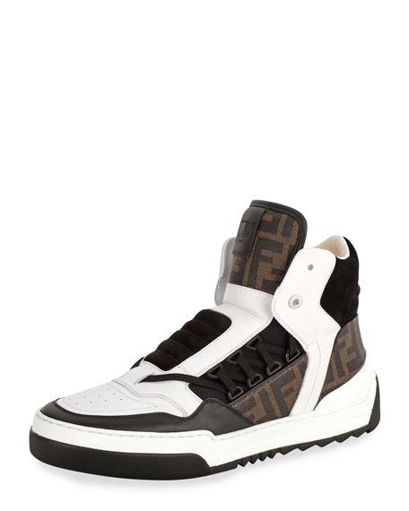 Fendi Tank Zucca-Print Leather High-Top Sneaker, White/Blue/Brown