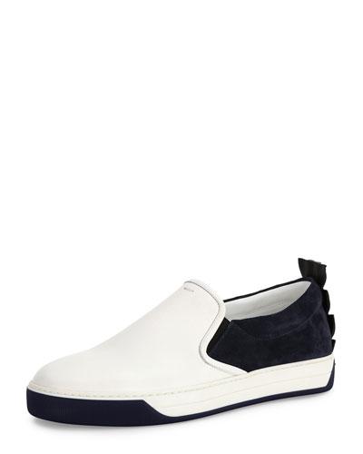 Crocodile-Back Leather Slip-On Sneaker, White/Blue