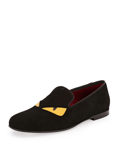 Fendi Monster Eyes Suede Evening Slipper, Black