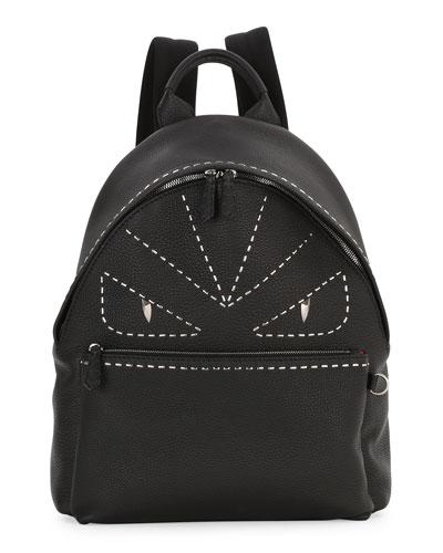 Stitched Monster Eyes Leather Backpack, Black