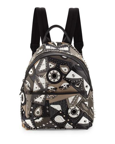 Runway Studded Monster Eye Printed Backpack, Gray/Black