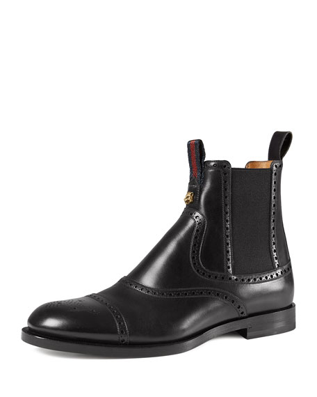 Gucci Leather Brogue Chelsea Boot, Black
