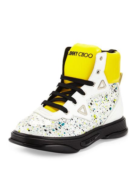 Jimmy Choo Galaxy Paint-Splatter Leather High-Top Sneaker, White