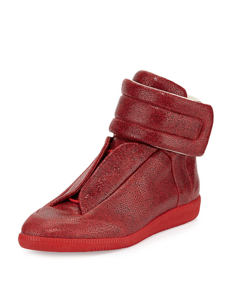 Maison Margiela Future Printed Leather High-Top Sneaker, Red