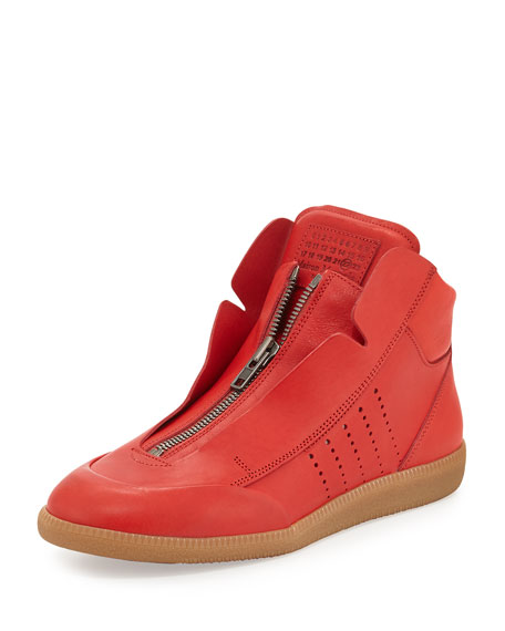 Maison Margiela Circuit Perforated Leather High-Top Sneaker, Red