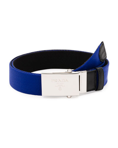 Reversible Plaque Belt, Blue/Black