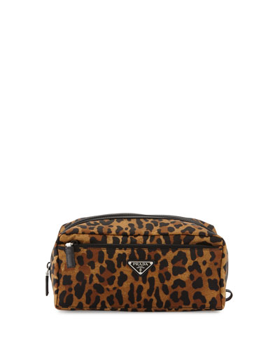 Leopard-Print Nylon Dopp Kit, Tan