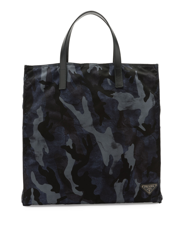 Prada Camo Print Nylon Tote Bag Blue