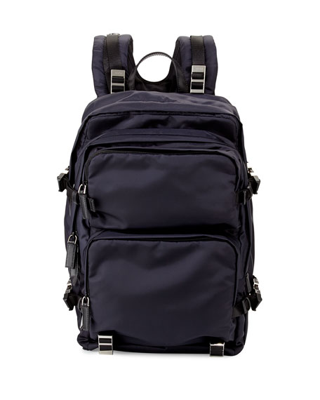 Prada Multi-Pocket Nylon Backpack, Navy