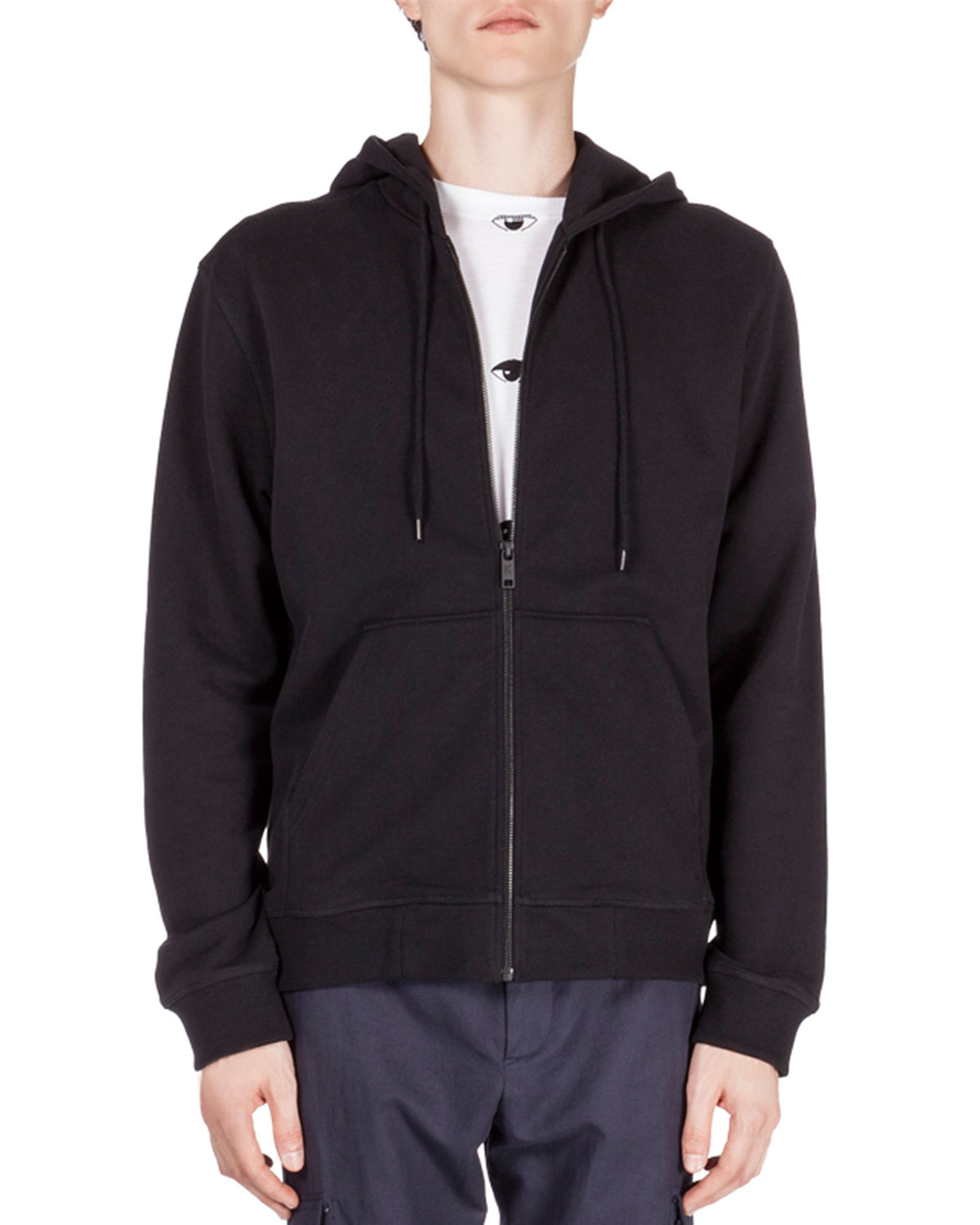 571d268e Kenzo Zip-Up Hoodie with Embroidered Tiger Icon, Black | Neiman Marcus