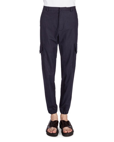 Cotton/Linen Cargo Jogger Pants, Navy