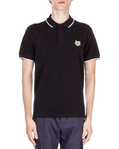Tipped Tiger Short-Sleeve Pique Polo, Black