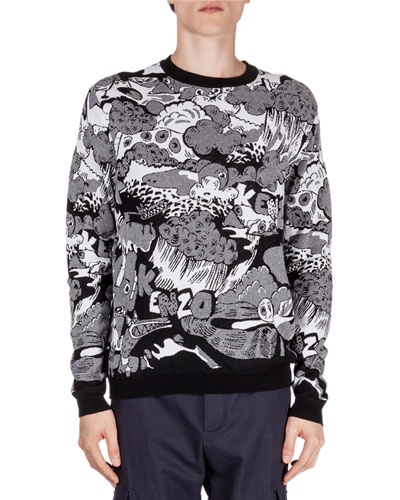 Cartoon Intarsia Printed Sweater, Black