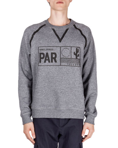 Passport Icon Printed Sweatshirt, Gray