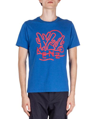 Dancing-Cactus Printed Short-Sleeve Tee, Blue