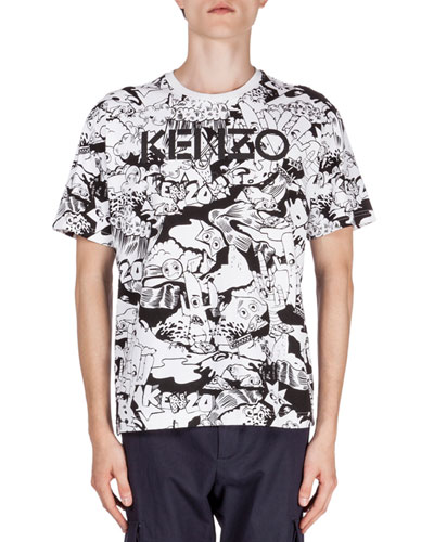 Allover Cartoon-Print Short-Sleeve Logo T-Shirt, Black/White