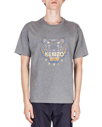 Embroidered Tiger Icon Short-Sleeve T-Shirt, Gray